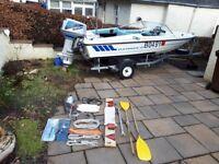 Boat Fletcher Arrowflyte GTO with 60hp Suzuki outboard and trailer