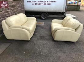 Cream leather sofa / suite * free furniture delivery*