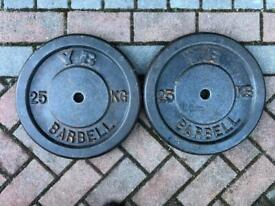 "York 25kg x 2 Cast Iron weights 1"" hole"
