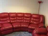 Genuine leather 5 Seater rock and Recline sofa and chair