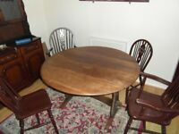 Solid Oak Drop Leaf Circular Table 4ft Plus 4 Chairs