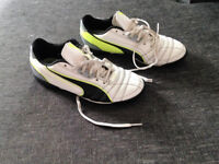 Junior size 4 white, black and yellow Puma trainers