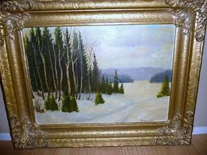 Amish Winter Landscape, Original Oil by M. Kieswetter,1919