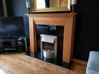 Fireplace with black granite hearth