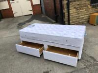 Single storage divan bed with mattress
