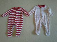 M&S xmas baby grows 0-3 months