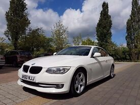 White BMW 320d Convertible Excellent condition Sat Nav. 10 months Warranty and GAP insurance