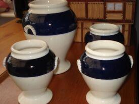 Set of four apothecary type jars - glazed china blue and white