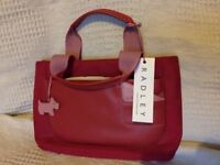 Red/pink Radley medium size (12x8 inches) handbag, unused, with shop tag