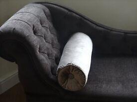 Laura Ashley Velvet bolster cushion in champagne colour