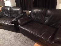 2x 2 seater black faux leather sofas for quick sale
