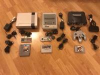 Nintendo NES, SNES,.N64 retro consoles. Gaming