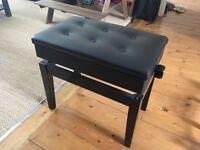 Piano Stool (black, underneath storage, adjustable)