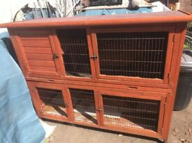 2 storey rabbit hutch with ramp