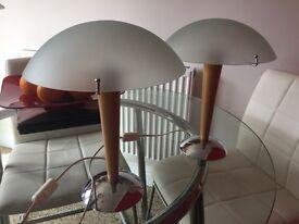 2 Beech Bedside Lamps