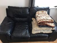 2 x black 2 seater Leather Sofa - Good condition