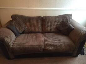 Brown/chocolate 3 seater sofa and swivel chair