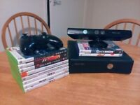 Microsoft Xbox 360 + wireless controller + Kinect Sensor + 10 games CHEAP BUNDLE