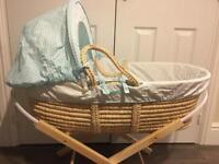 M&S 'giraffe&elephant' moses basket with stand