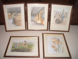 Framed Whisky Water colours