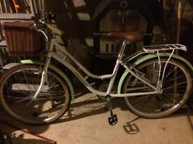 Ladies green/cream retro bike with basket
