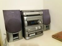 Aiwa sound system with CD player and cassette players