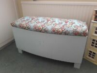 Shabby Chic Duck Egg & Floral Fabric Toy Box / Chest