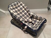 Baby bouncer / rocker / relaxer excellent condition blue checked pattern