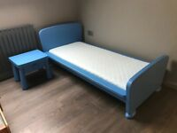 Junior kids bed frame in painted blue, slats and mattress