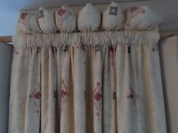 Four Lined single width curtains, cream background 220cm long 140cm wide