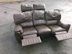 3 seats brown leather sofa