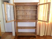 Pine Cabinet and Bookcase with Glass doors at top - Lockable Glass Cabinet with Bookshelves £120