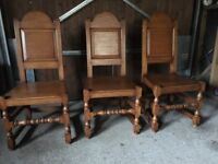 REAL OAK DINING TABLE, CHAIRS AND CUSHIONS, UNMARKED