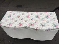 Ottoman Box , covered in floral material . £95 Size L 36in D 15in H 20in .
