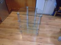 HiFi Table Stand Glass Table TV Cabinet Shelves Equipment