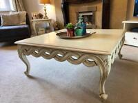 White / Creme Ornate Carved Coffee Table & Side Tables