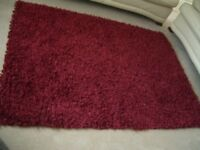 Large Deep Red Textured Rug
