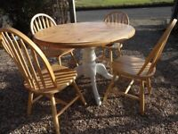LARGE PINE FARMHOUSE DINING TABLE - OVAL - PEDESTAL + 4 CHAIRS