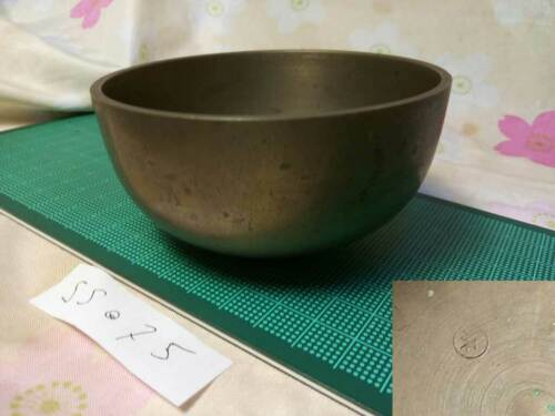 """Marked SAHARI 3.622"""" Japanese Buddhist Bell SS075 Excellent Tone"""