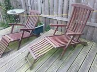 2 Wooden Deck chairs