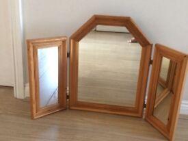 Pine 3 way folding mirror