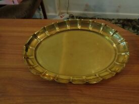 Antique Joseph Sankey & Sons (J.S&S) Solid Brass Oval Scalloped Dish