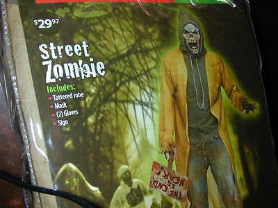 HALLOWEEN COSTUME Scary Street Zombie Man XL Mask Robe Shirt Gloves Sign Death - Street Zombie Costume