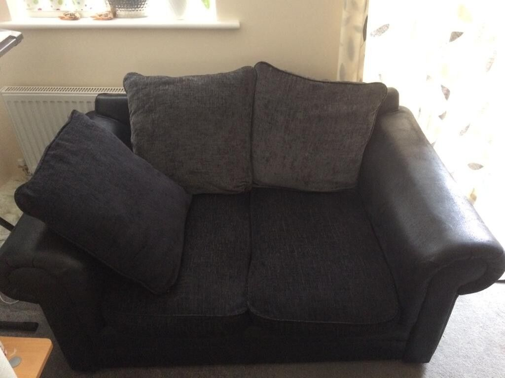 Black Lether And Cloth Sofa In Dunstable Bedfordshire Gumtree