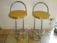 2 WOOD & CHROME BAR STOOLS