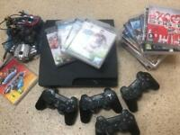 PLAYSTATION 3 PS3 HUGE BUNDLE FOUR CONTROLLERS & LOADS OF GAMES