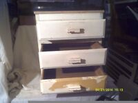 A TINY 3 DRAWER CHEST , WOULD COME UP NICE IF GIVEN THE TREATMENT ? ? ? DRAWERS R O.K