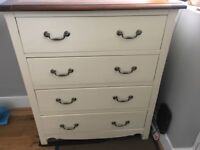 Wooden 4 Drawer Chest of Drawers (Cream)