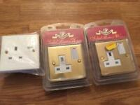 2x Brass Power Point Sockets & 1x Standard (Unused / Sealed)