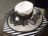 ladies hat in black and white